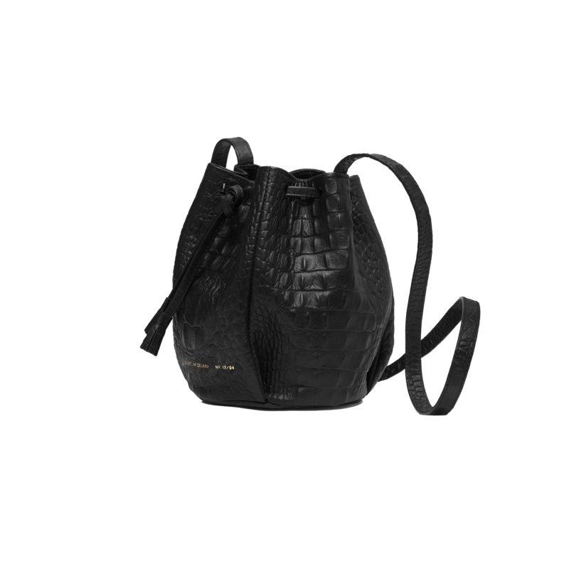 "Mini Bucket Bag ""black crocodile"""