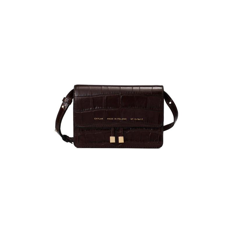 "Mini Belt  Bag ""glossy brown crocodile"""