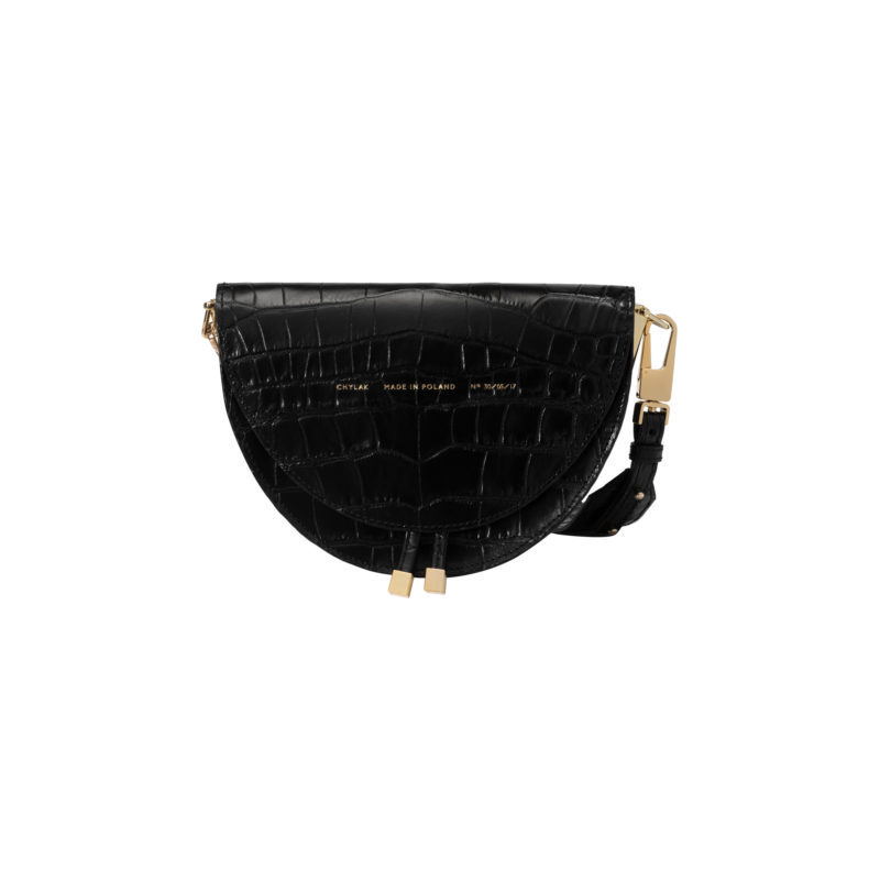 "Saddle Bag ""glossy black crocodile"""