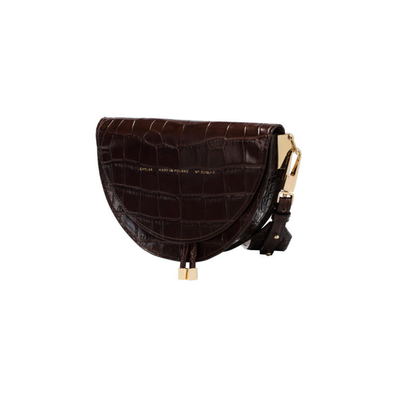 "Saddle Bag ""glossy brown crocodile"""
