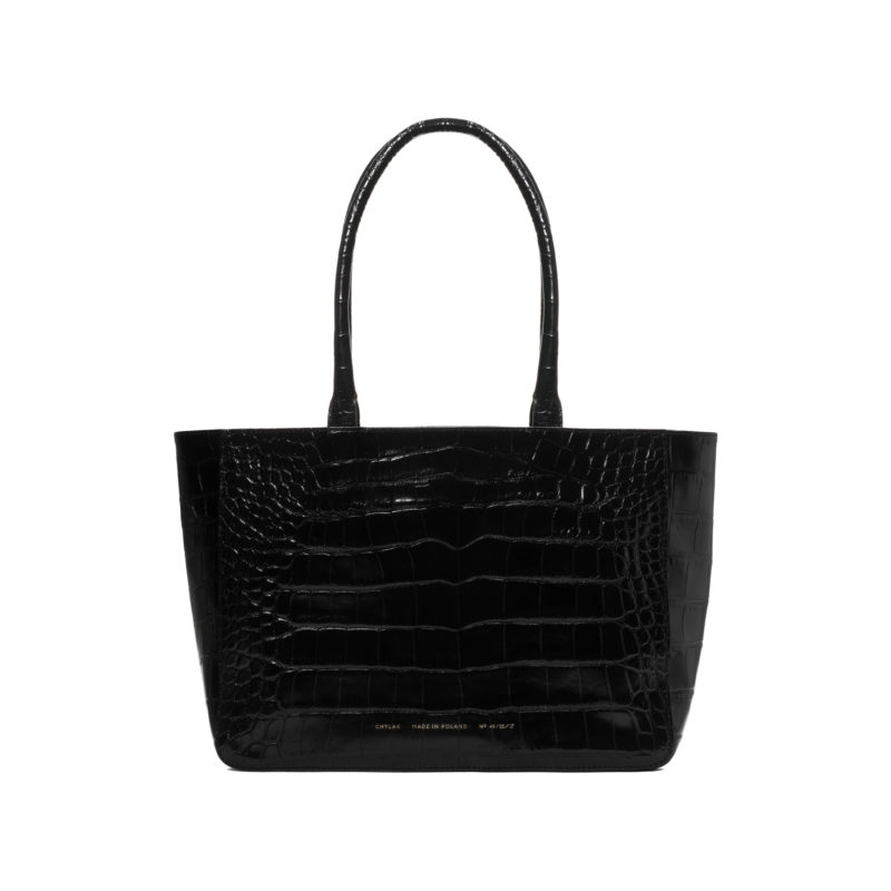 "Shopper ""glossy black crocodile"""