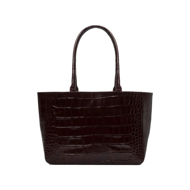 "Shopper ""glossy brown crocodile"""