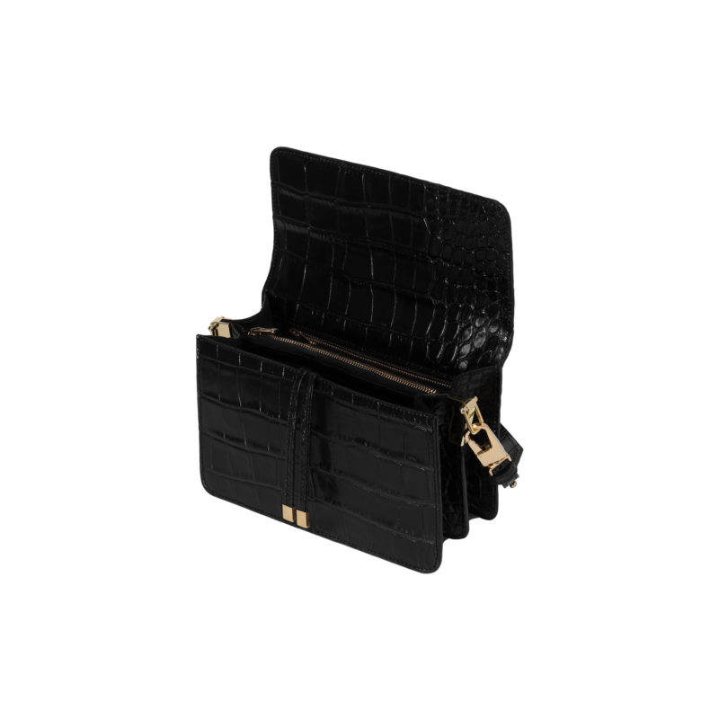 "Shoulder Bag ""glossy black crocodile"""