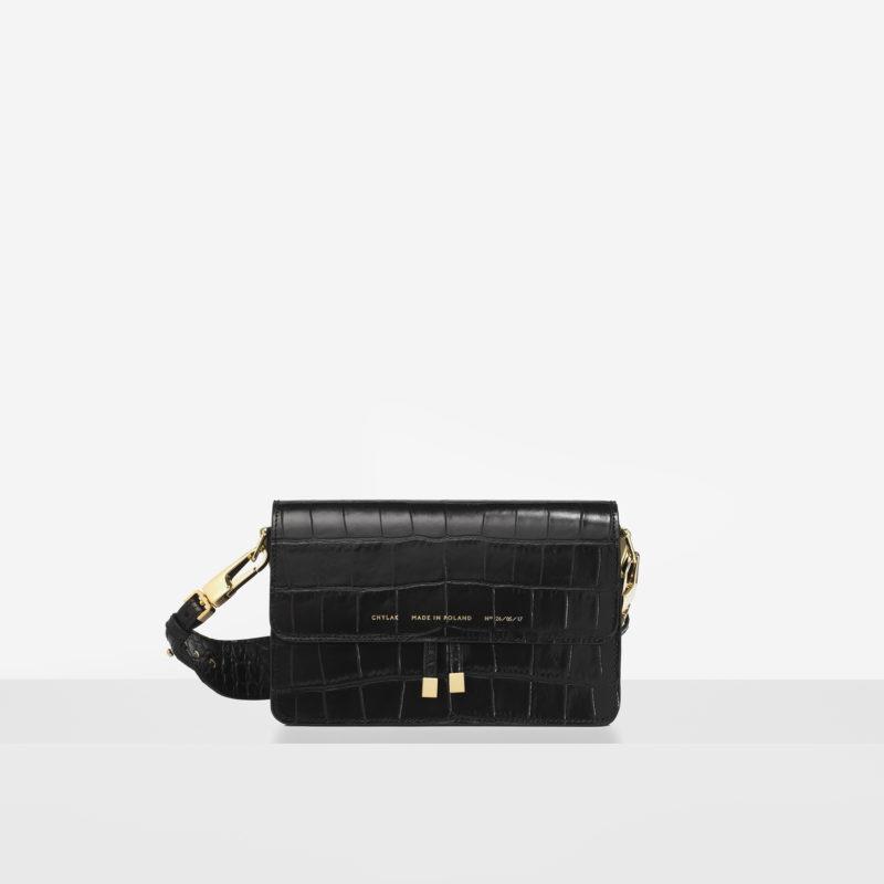 "723e47bbe Shoulder Bag ""glossy black crocodile"" - Chylak"