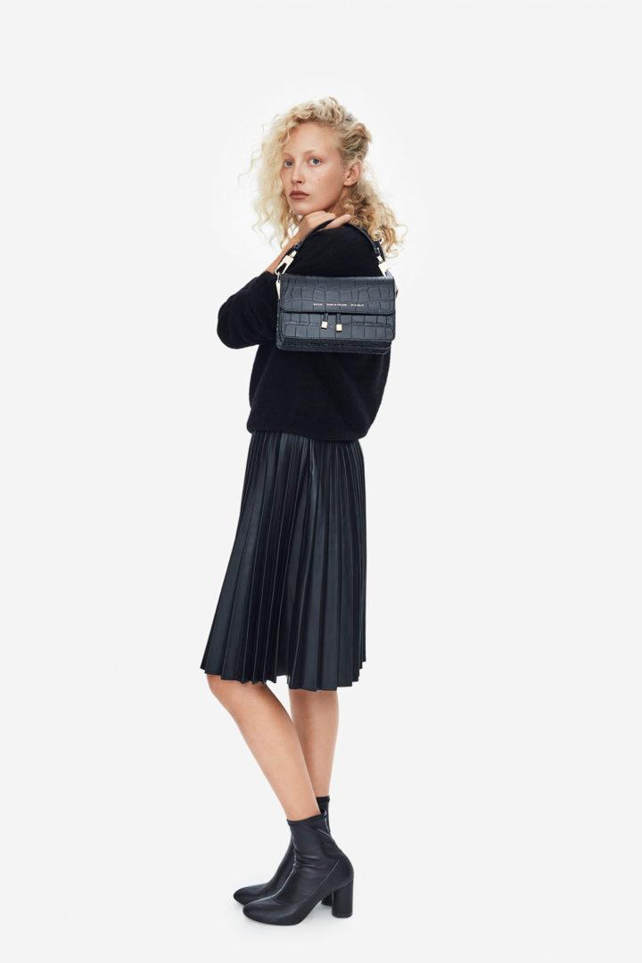 "Shoulder Bag ""glossy black crocodile"""