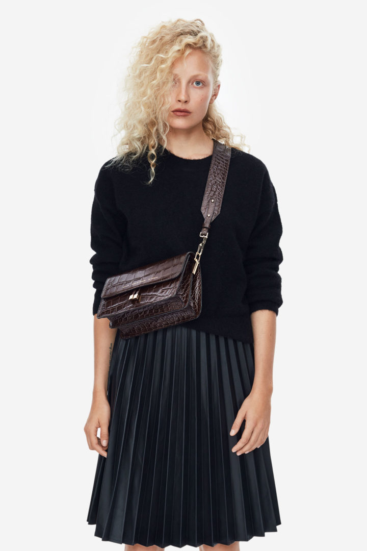 "Shoulder Bag ""glossy brown crocodile"""