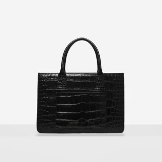 "Big Accordion Bag ""glossy black crocodile"""