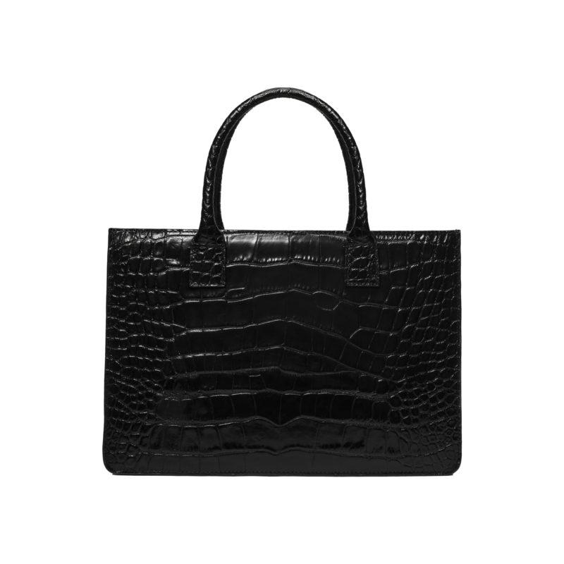 """Big Accordion Bag """"glossy black crocodile"""""""