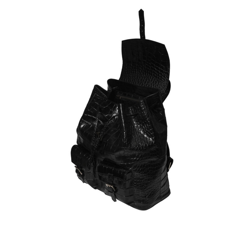 "Big Backpack ""glossy black crocodile"""