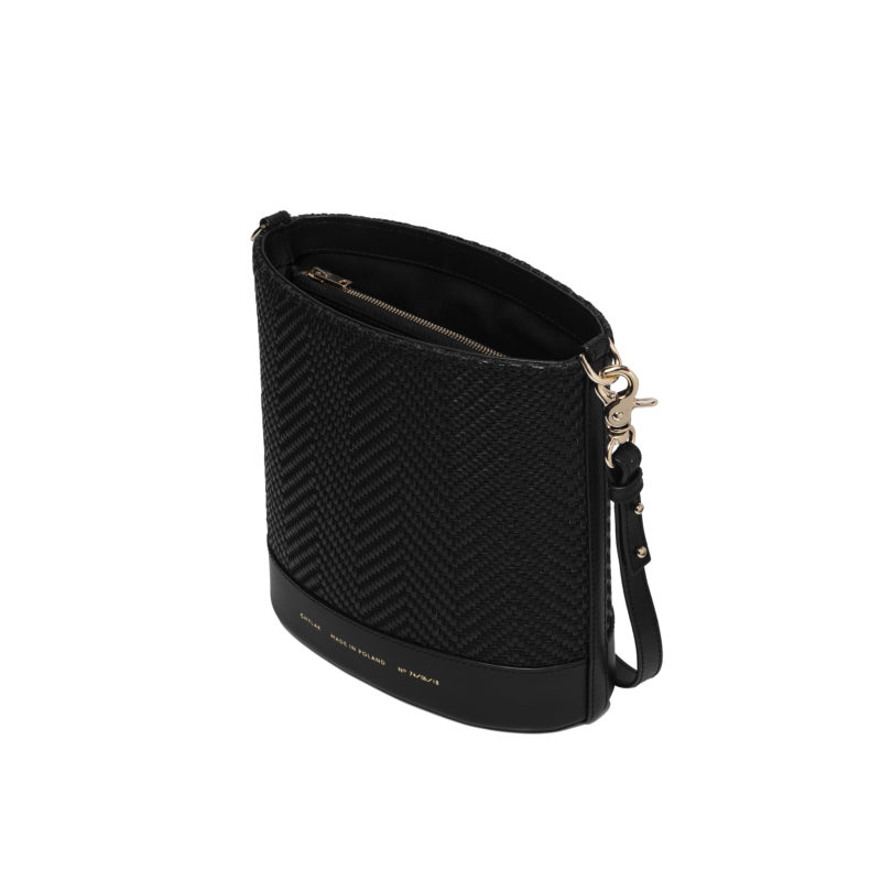 Long Strap black plain leather