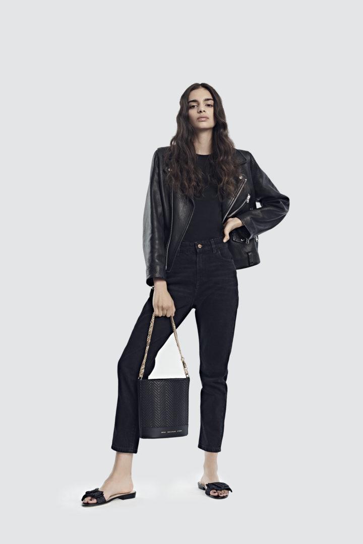 """Cylinder Bag """"black woven leather"""""""
