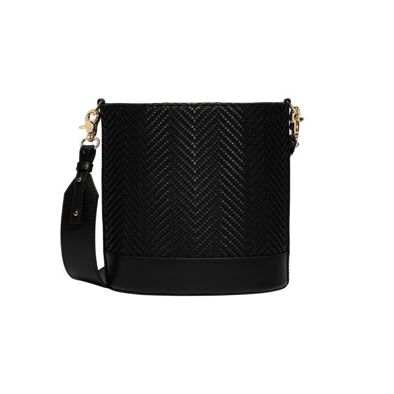 "Cylinder Bag ""black woven leather"""