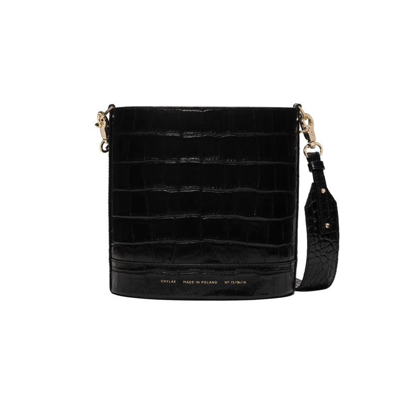"Cylinder Bag ""glossy black crocodile"""