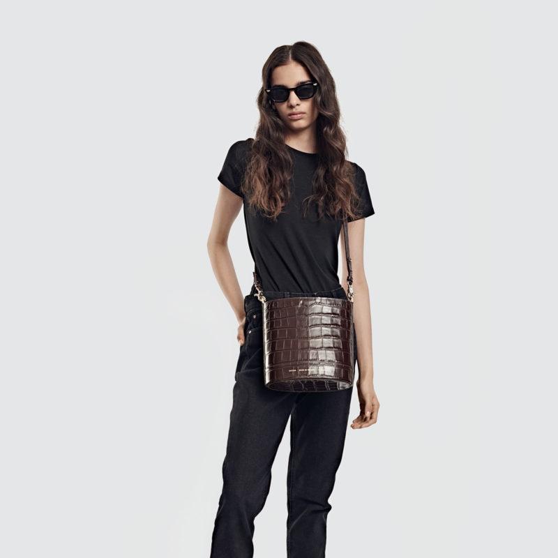 "Cylinder Bag ""glossy brown crocodile"""