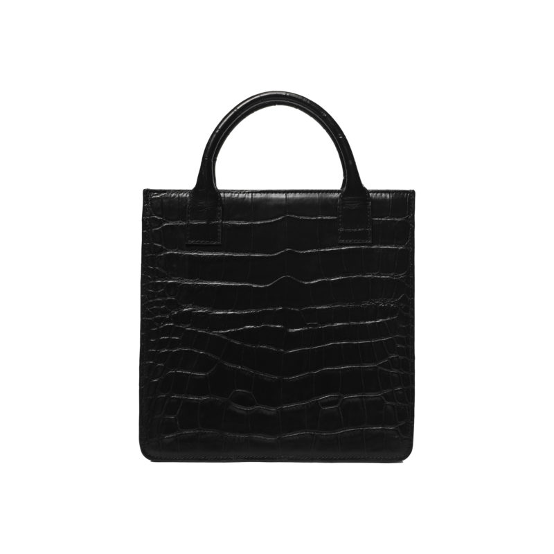 "Small Accordion Bag ""glossy black crocodile"""