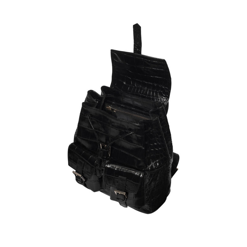 "Small Backpack ""glossy black crocodile"""