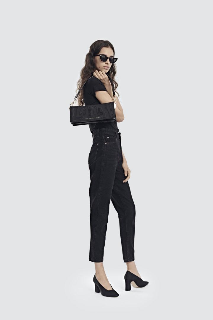 """Wide Shoulder Bag """"black patent leather"""""""
