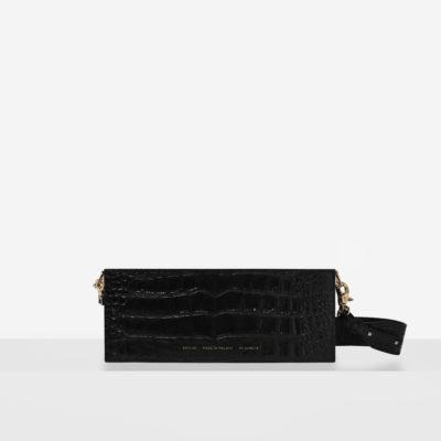 """Wide Shoulder Bag """"glossy black crocodile"""""""