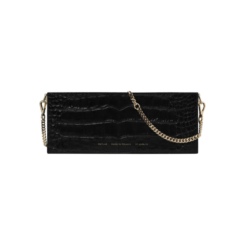 "Wide Shoulder Bag ""glossy black crocodile"""