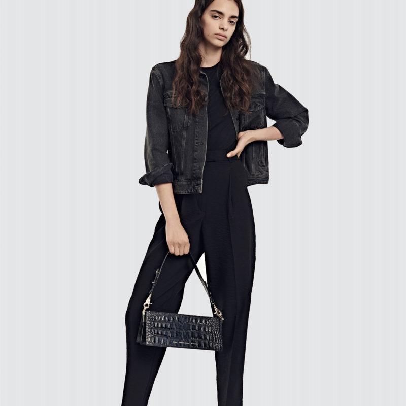"""04b57bc11 Wide Shoulder Bag """"glossy black crocodile"""" + Short Strap - Chylak"""