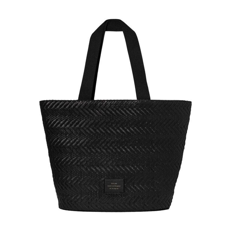 "Big Tote Bag ""black woven"""