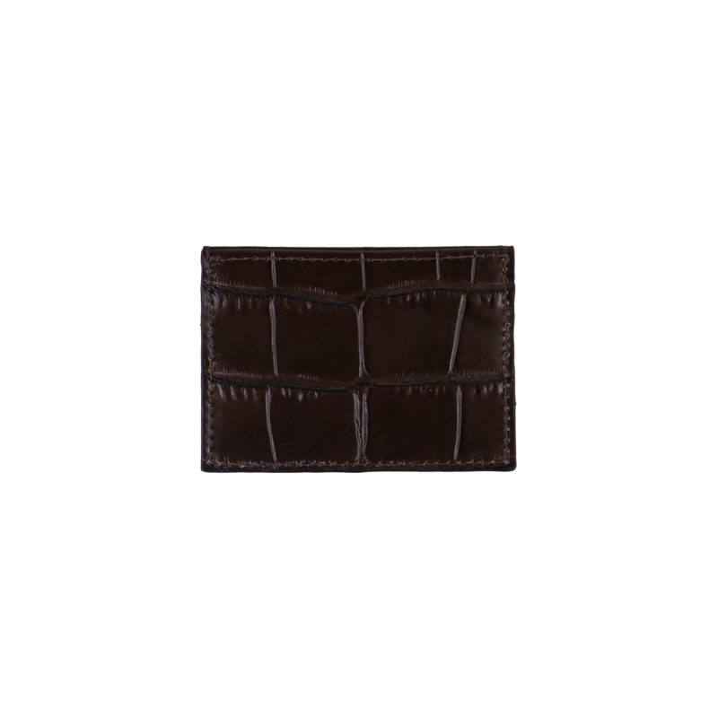"Cardholder ""glossy brown crocodile"""