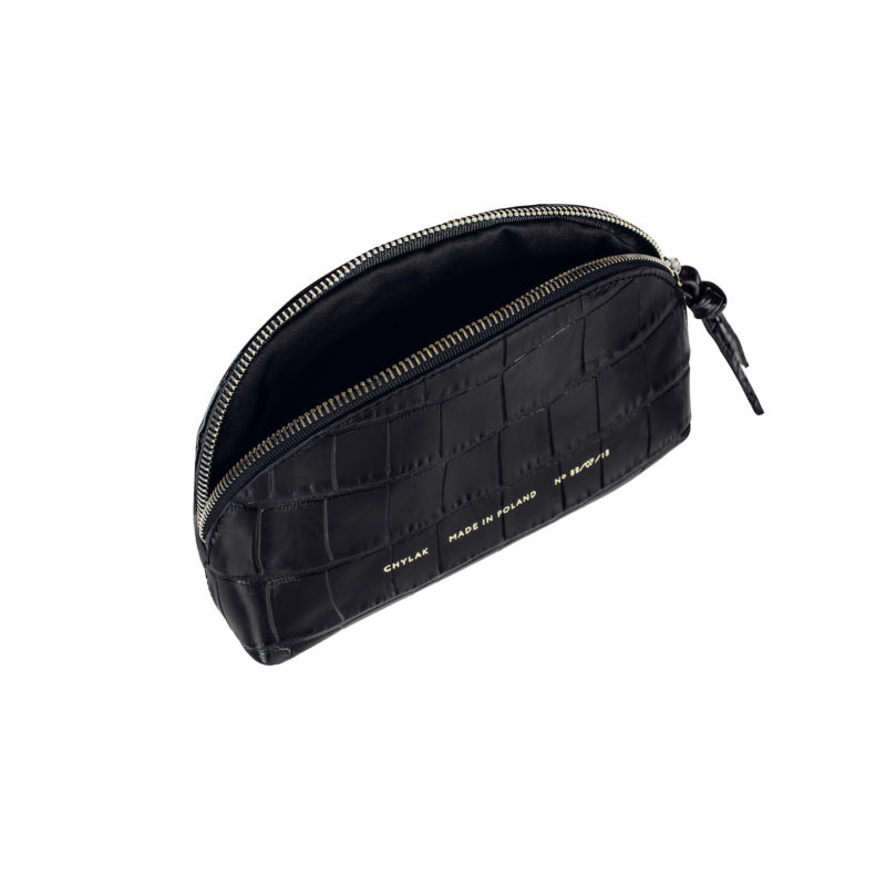 "Small Cosmetic Bag ""glossy black crocodile"""