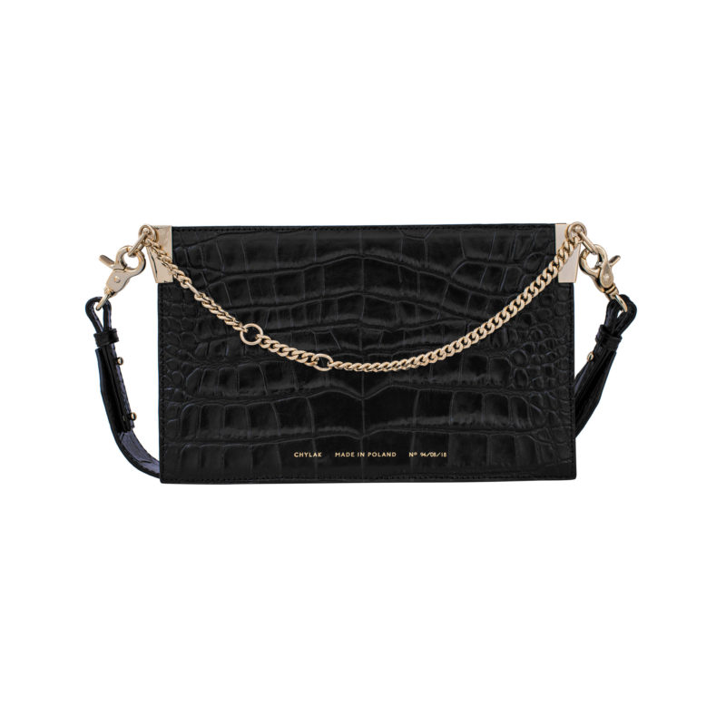 "Chain Bag ""glossy black crocodile"""