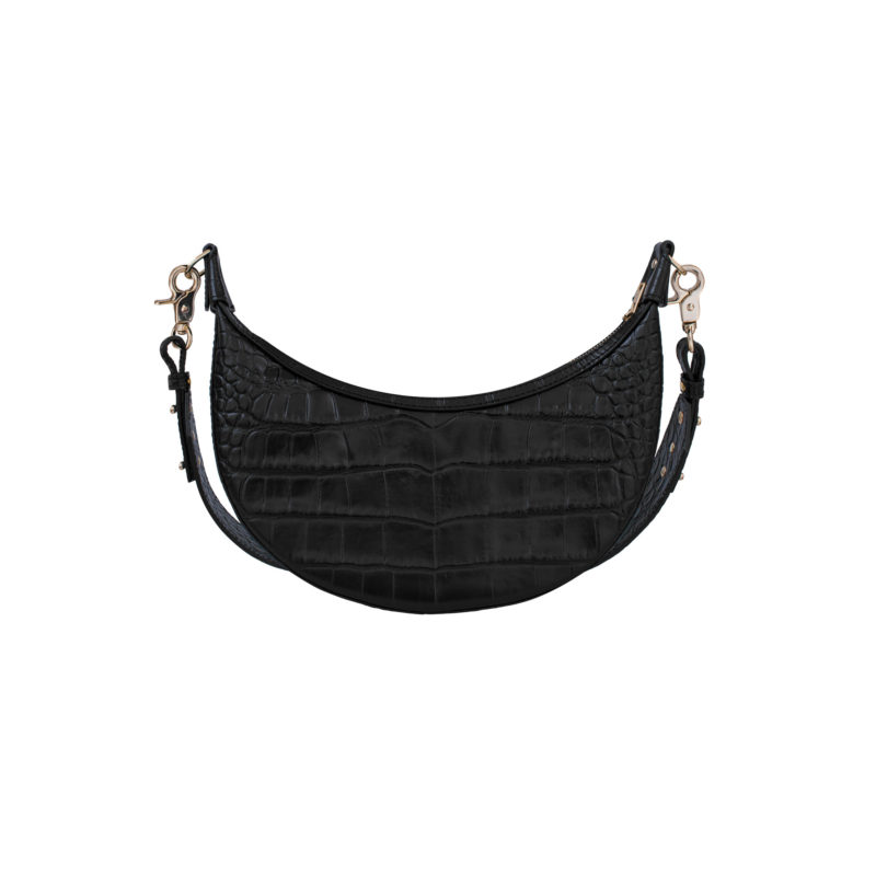 "Croissant Bag ""glossy black crocodile"""
