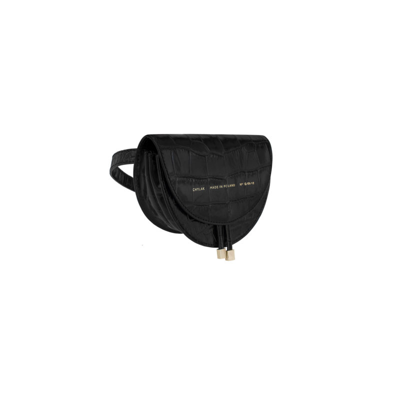 "Mini Saddle Bag ""glossy black crocodile"""