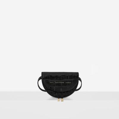 "Mini Saddle Bag ""glossy black crocodile"""