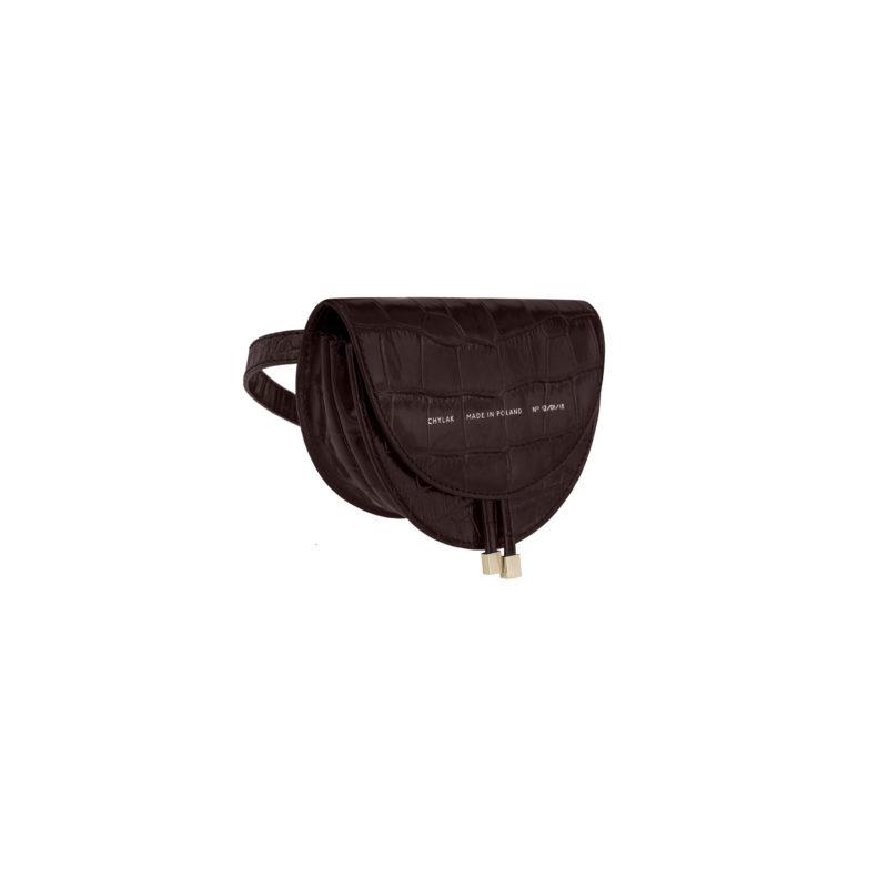 "Mini Saddle Bag ""glossy brown crocodile"""
