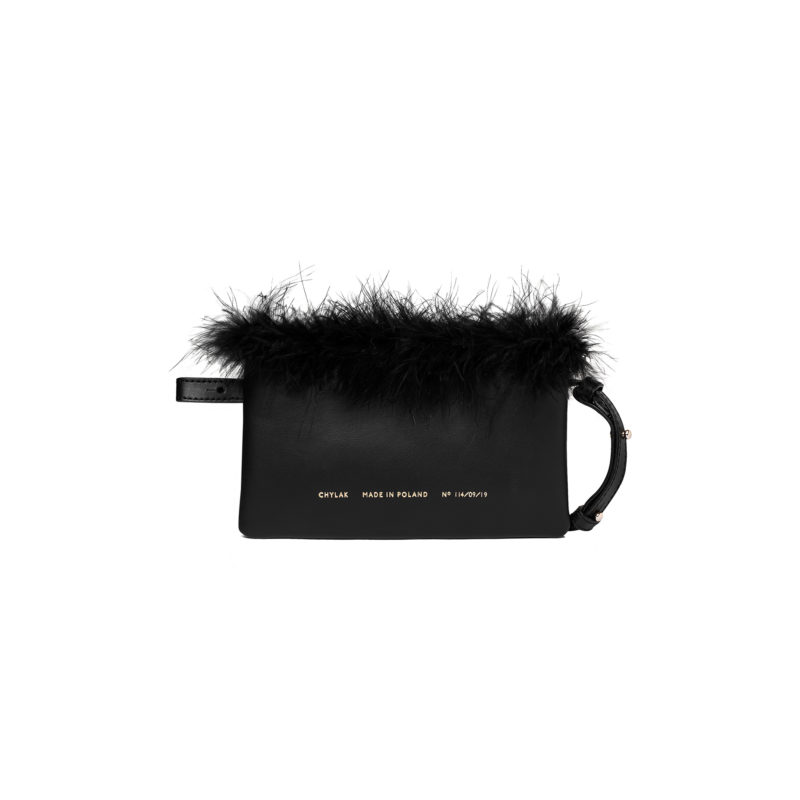 Feathered Mini Belt Bag black