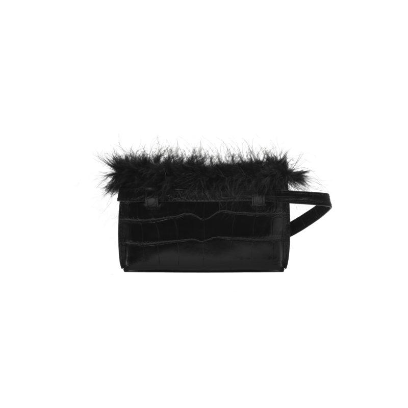 "Feathered Mini Belt Bag ""glossy black crocodile"""