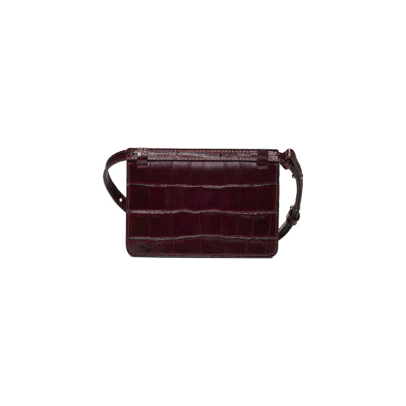 "Mini Belt Bag ""glossy burgundy crocodile"""