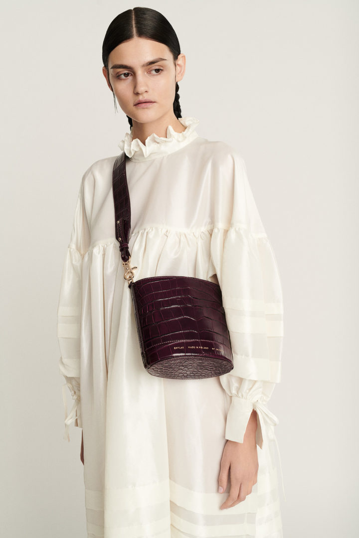 "Mini Cylinder Bag ""glossy burgundy crocodile"""