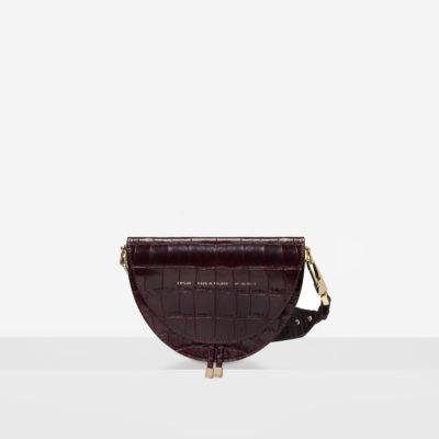 "Saddle Bag ""glossy burgundy crocodile"""