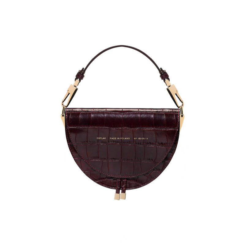 "Saddle Bag ""glossy burgundy crocodile"""