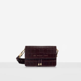 "Shoulder Bag ""glossy burgundy crocodile"""