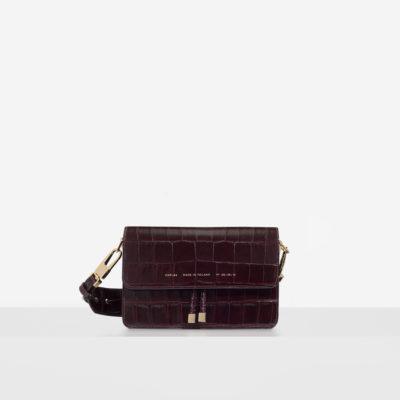 "Shoulder Bag ""glossy burgundy crocodile"""