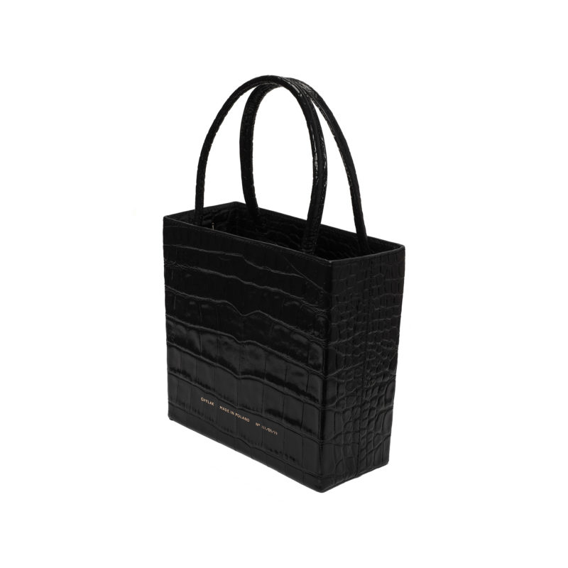 "Square Bag ""glossy black crocodile"""