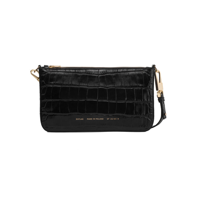 "Underarm Bag ""glossy black crocodile"""