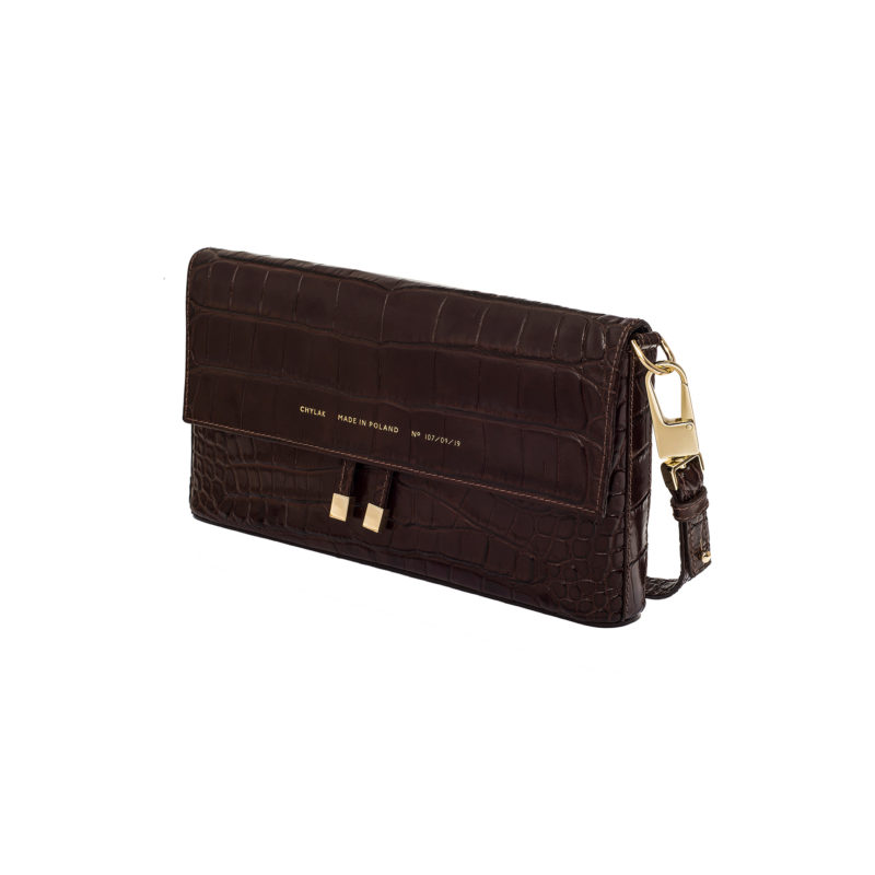"Underarm Flap Bag ""glossy brown crocodile"""