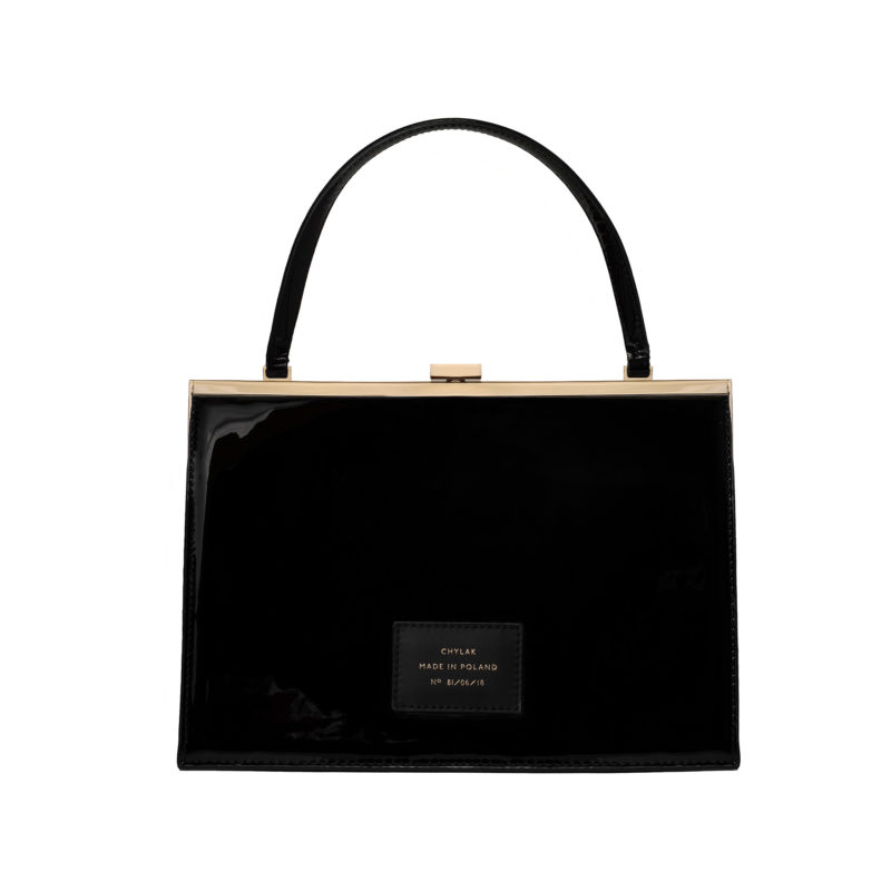 """Vintage"" clasp bag ""black patent leather"""