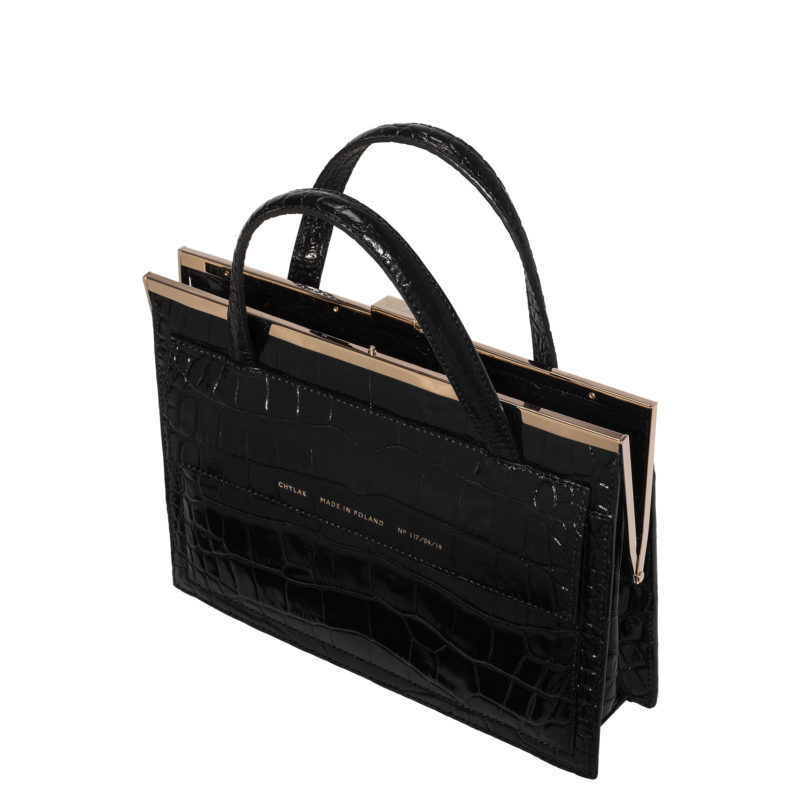 """Vintage"" clasp bag ""glossy black crocodile"" with the pocket"