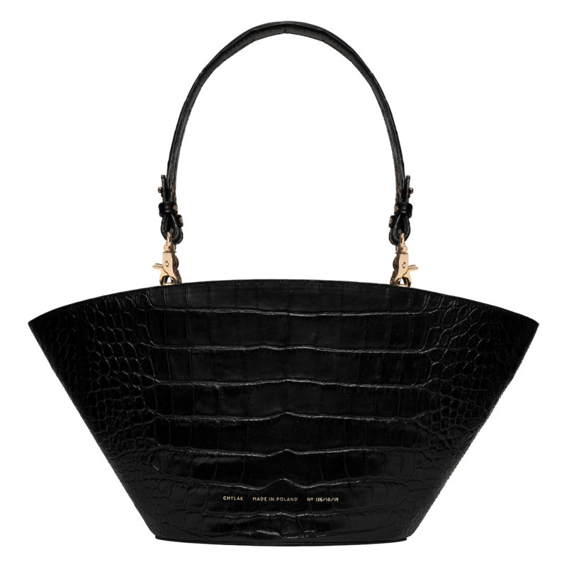 "Big Basket Bag ""glossy black crocodile"""