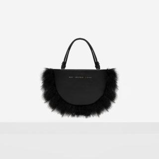 Feathered Mini Half Moon Bag Black