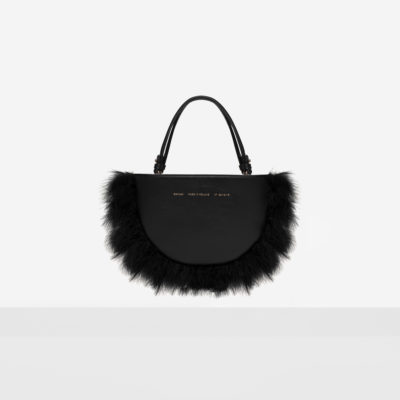 Feathered Mini Half Moon Bag Black