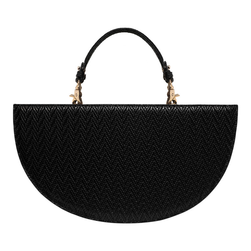 "Half Moon Bag ""black woven leather"""