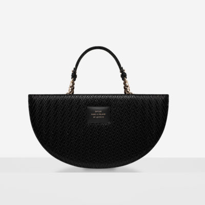 "Half Moon Bag ""black woven leather"""